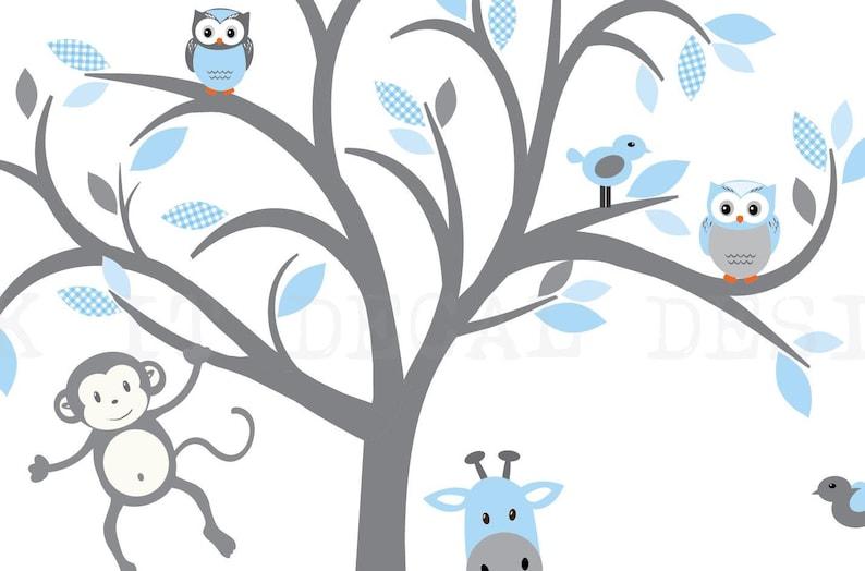 Blue Gingham Safari Wall Art Baby Blue Hues Gingham Design Nursery Wall Decor Tree Decal Boy Room Nursery Wall Decor
