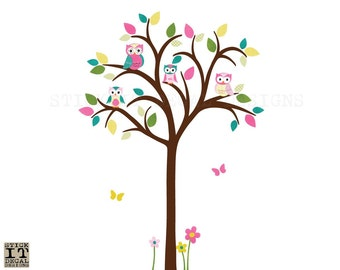 Owl tree wall decal, Owl tree wall sticker, Nursery Wall Decal, owl wall decal, nursery owl decor, Zoe Design, Dark Brown Tree