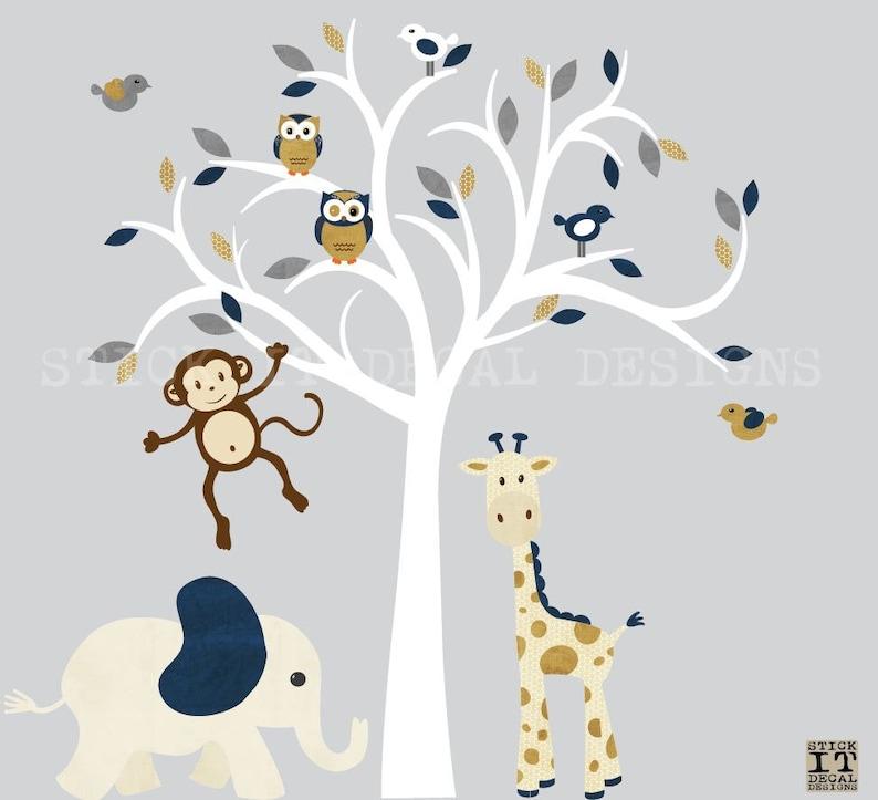 White Tree Wall Decal Safari Animal Wall Decal Modern Denim Design Jungle Animal Wall Decal Nursery Wall Decor Navy Blue Nursery Decor