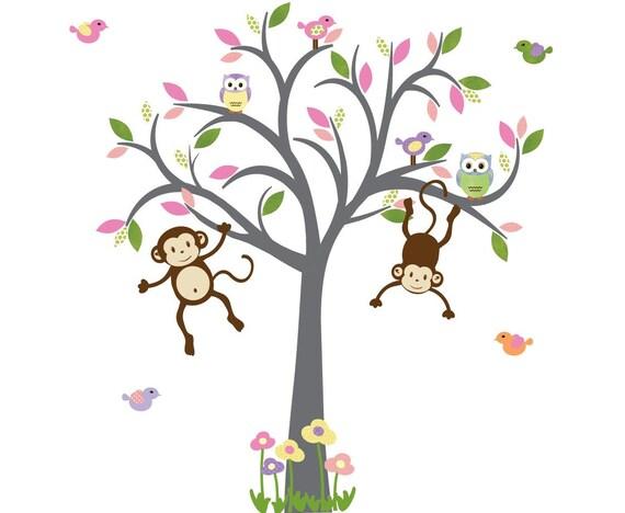 Affe Wandtattoo Kinderzimmer Wandtattoo Madchen Baum Etsy