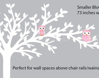 Above Chair Rail/Wainscoting Owl tree decal, Blowing Tree Top, owl wall decal, nursery owl decor, Carnation Pink Design