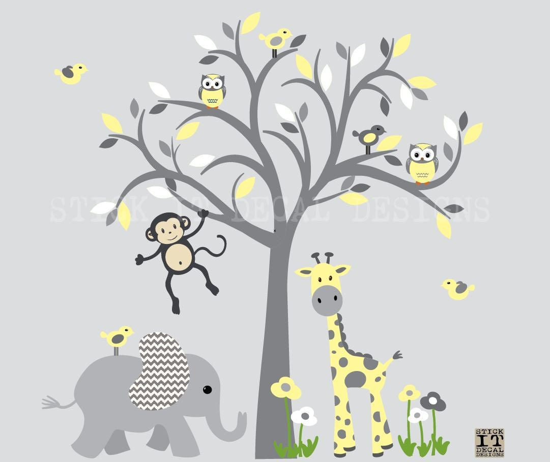 Wall Decal Jungle Animal Wall Decal Tree Wall Decal Gender Etsy