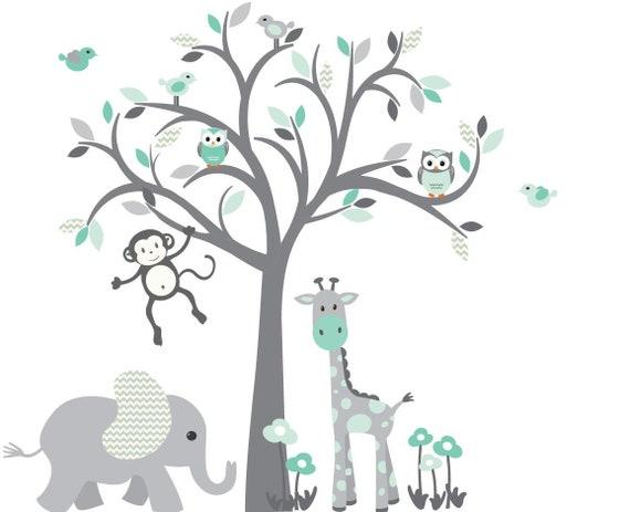 Eule Baum Wandtattoo, Dschungel Tier Wandtattoo Kinderzimmer Wandtattoo,  Tiere Wandtattoo, Mint vor allem Design