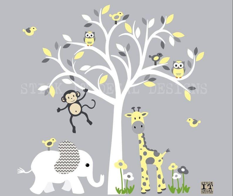 nursery wall decal Grey Chevron with Buttercream Design Baby nursery wall decal White Tree wall decal kids room decor