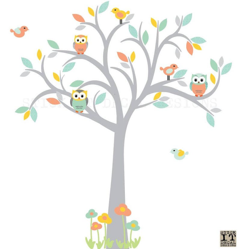 Eule Baum Wandtattoo Kinderzimmer Wandtattoo Orange Mint | Etsy