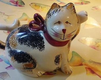 Sakura Table Christmas Cats Fiddlestix Earthenware Cat Creamer Calico Cat Pitcher Creamer Vintage Cat Milk Creamer Pitcher