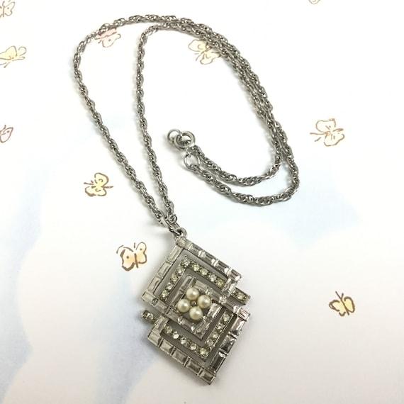 Coro vintage rhinestone and pearl necklace Art De… - image 1