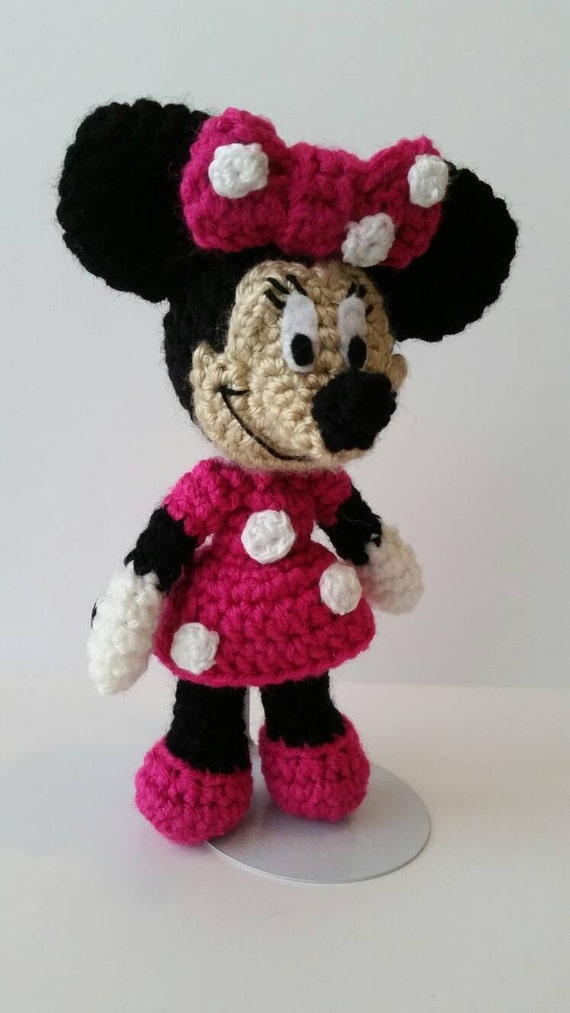 Pink Or Red Minnie Mouse Crochet Doll 8 Doll Minnie Etsy