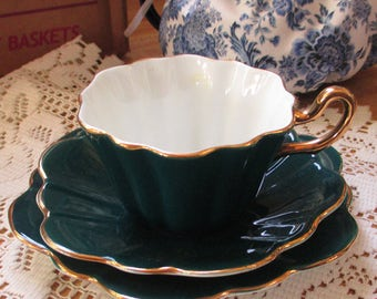 Royal Stuart Trio  cup and saucer and plate - Teal color -   from a collection of over 100 Awesome sets