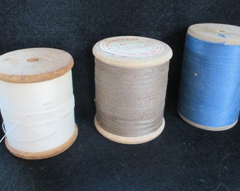 VIntage lot of 3 large (huge)  wooden  spools Thread  from Estate of Crafter/sewing person estate - Steampunk project -  Estate find