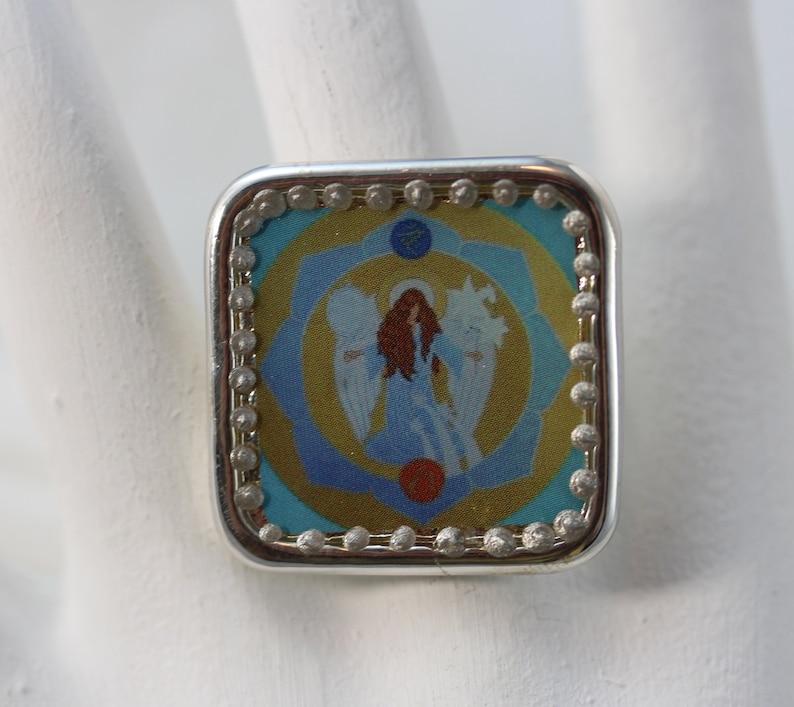 Angeloudia Ring 9-204 Gabriel Guardian Angel Archangel light sky blue angelic icon style lotos flower chakra jewellery