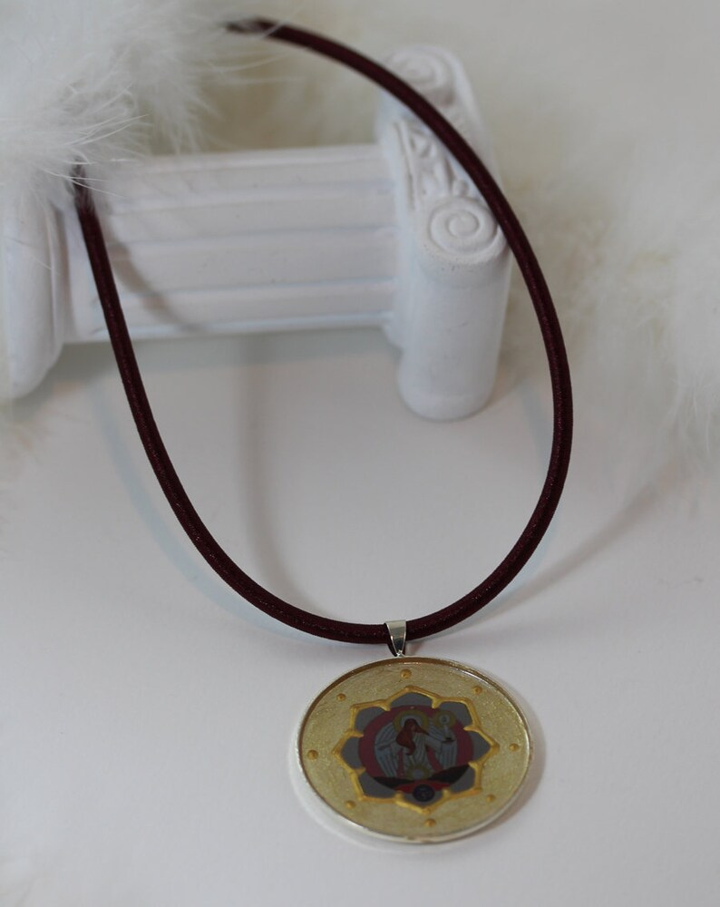 Hand Painted Archangel Azrael Pendant Jewelry and Gift Idea for Woman Elegant Angel Necklace in Beige Gold Pink with Brown Silk Cord