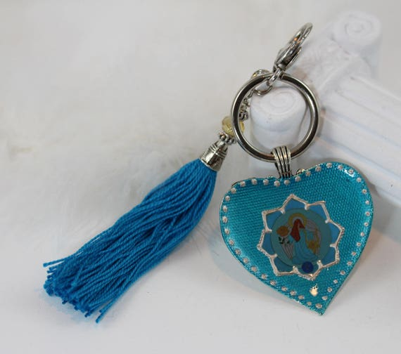 Heart Key Chain with Archangel Raguel in Mint Teal Aquamarine Blue Purse Good Luck Charm Zipper Clasp with Tassel and Guardian Angel