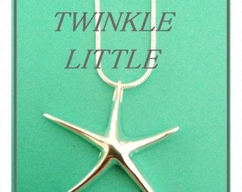 Summer Necklace, Fine Jewelry, Beach Wedding, Silver Jewelry, Bridesmaid Necklace, Starfish Necklace, Bridesmaid Necklace, Gift for Her