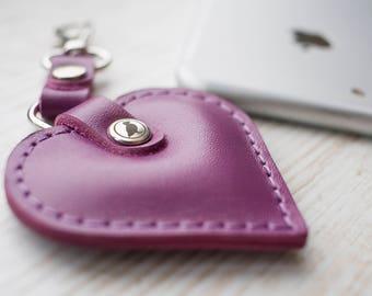 purple leather heart keychain 601b302b9