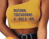 Horns Down One Shoulder Crop Top, Tailgate, WVU, College, Morgantown