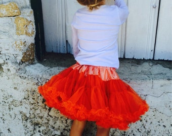 Extra Full and Fluffy Deluxe Chiffon Pettiskirt Autumn Orange