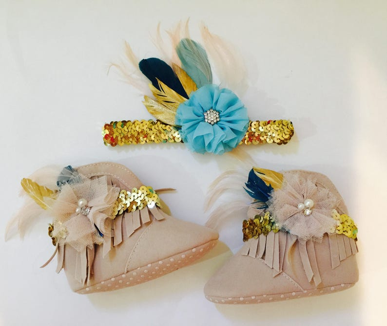 Boho Wild One moccasins boots and matching headband or hair image 0