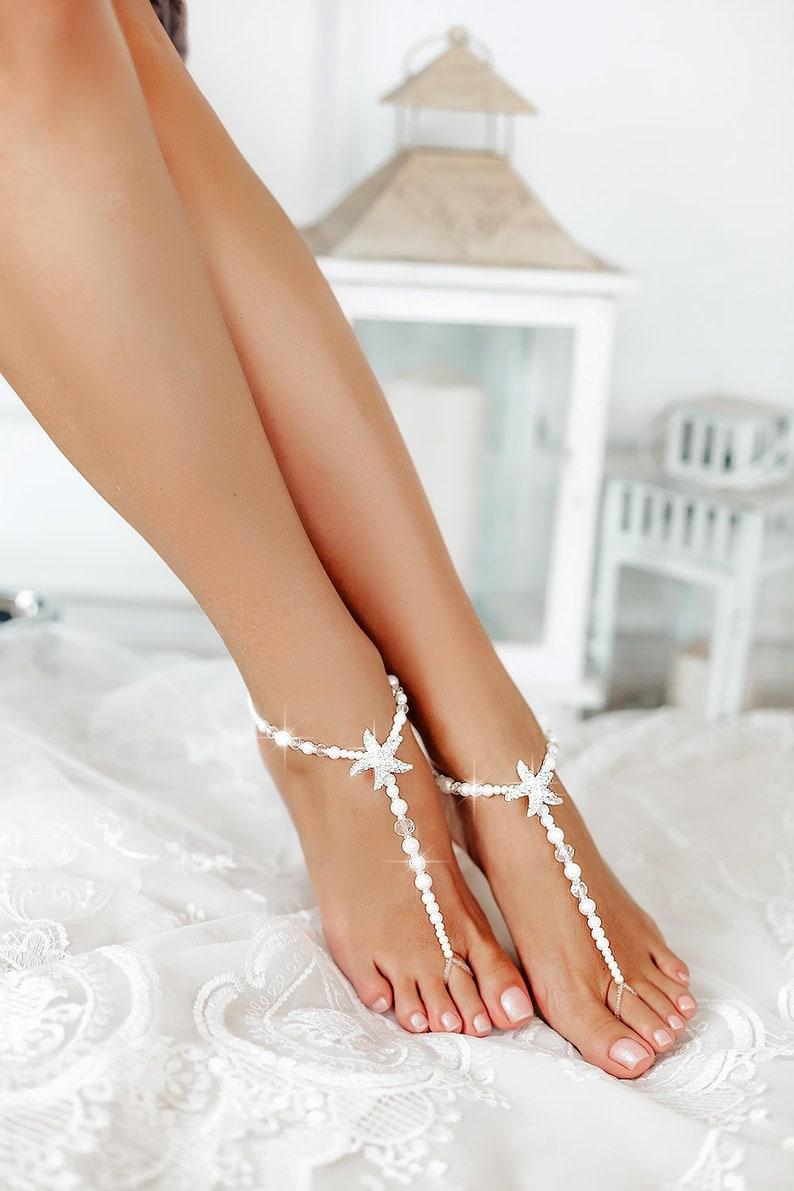 bbe3014be19e06 Beach wedding barefoot sandals Bridal foot jewelry Starfish
