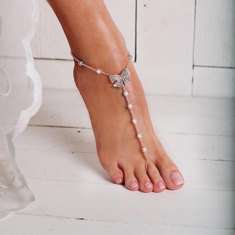 Sandalo NudiSandali Perline Starfish Senza Cavigliera Nudi NuzialeStrass Fiocco Sposa Piede Piedi A w0kOnP