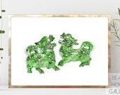 Foo Dog Art, Green Chinoiserie Wall Art, Foo Dog Prints, Temple Dog Watercolor Print, Green Chinese Pottery Print, Chinese Lion Print