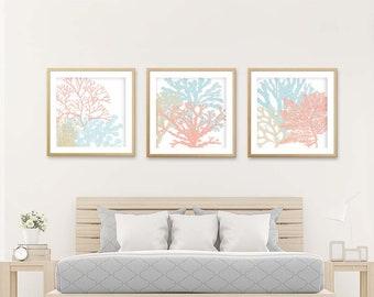 Genial Spring Wall Art, Peach Mint Wall Art, Baby Girl Nursery Decor, Beach Bedroom  Art, Beach Nursery Art, Peach Wall Art, Coral Aqua Bedroom Art