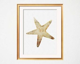 Gold Starfish Art, Nautical Starfish Poster, White Gold Art, Modern Beach House, Vintage Starfish Wall Art, Starfish Print, Faux Gold Foil,