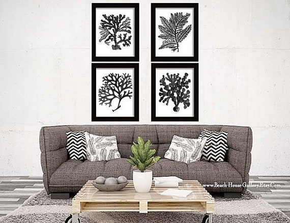 Incredible Black Coral Art Black Botanical Beach House Gallery Black White Bedroom Art Black Wall Art Nautical Decor Traditional Bedroom Art Machost Co Dining Chair Design Ideas Machostcouk