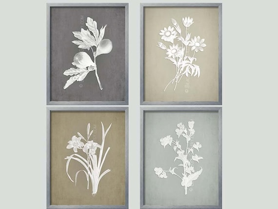 gray botanical french country wall art botanical etsy