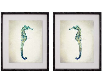 Seahorse Wall Art, Seahorse Print Set, Seahorse Prints, Seahorse Art, Beach House Art Print, Tropical, Teal Gray, Bathroom Decor,