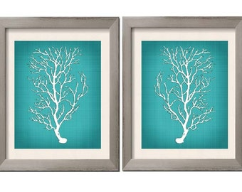 Beach House Decor, Teal Wall Art, Teal Art, Teal White, Teal Sea Coral, Beach Bathroom, Teal Bedroom Decor, Set of 2, Bathroom Decor