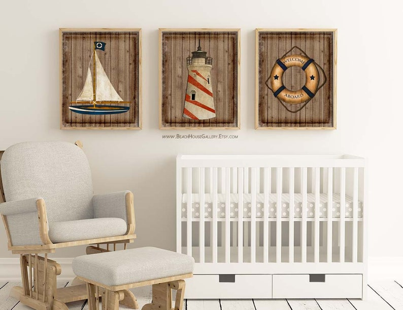 Rustic Nautical Nursery Art Nautical Decor Beach House Etsy