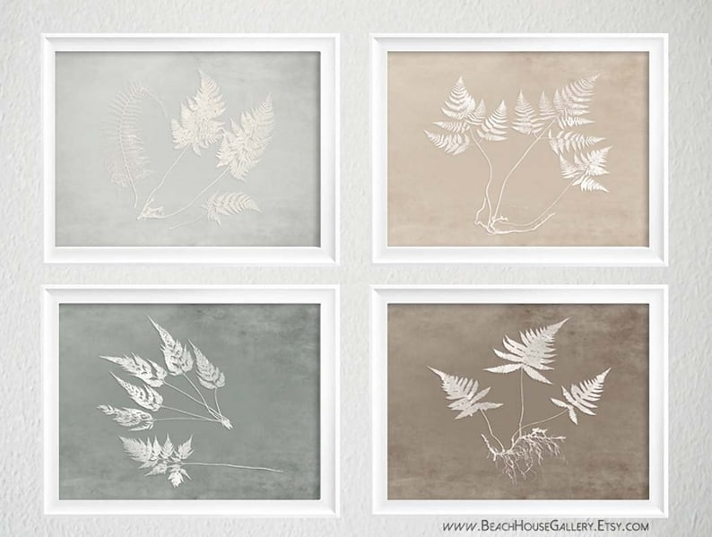 Horizontal Wall Decor Gray Fern Prints Farmhouse Rustic Art