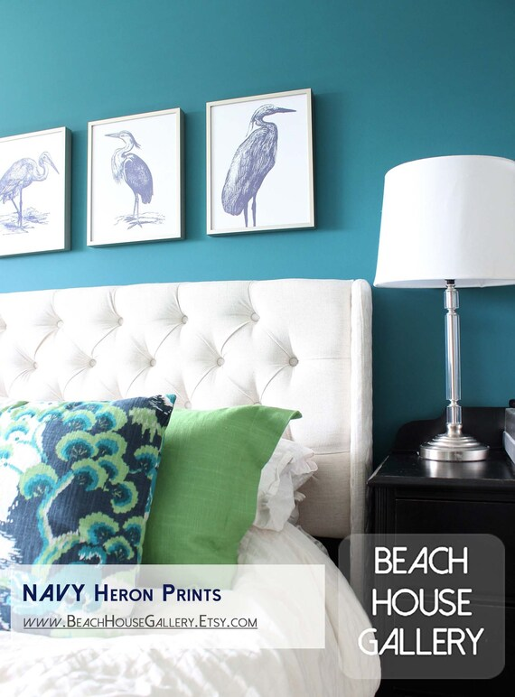 Great Blue Heron, Water Birds, Nautical Art, Coastal Birds, Blue White Wall  Art, Tropical Bird Prints, Blue Heron Art, Beach House Decor