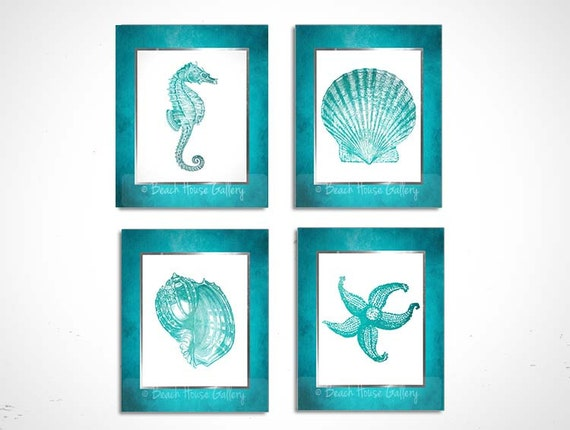 Teal And White Bathroom Wall Art Turquoise Teal White Etsy