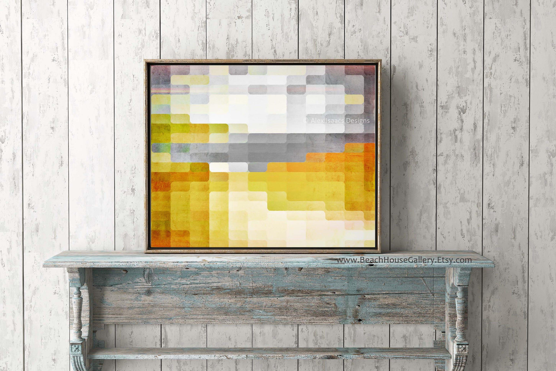 Abstract Geometric Landscape Yellow Gray Wall Art Yellow | Etsy