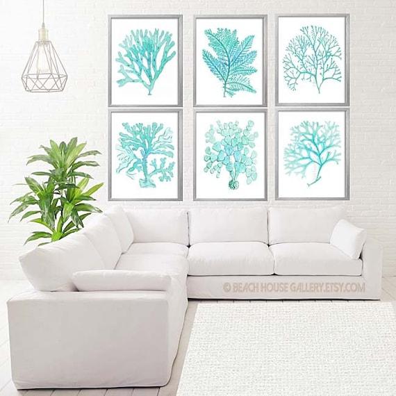 Light Blue Aqua And White Bedroom Wall Art Coastal Art Set   Etsy