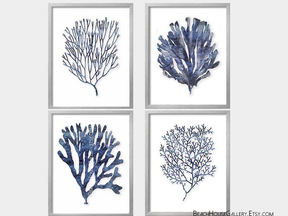Seaweed Prints Indigo Coral Blue White Wall Art Coastal Etsy