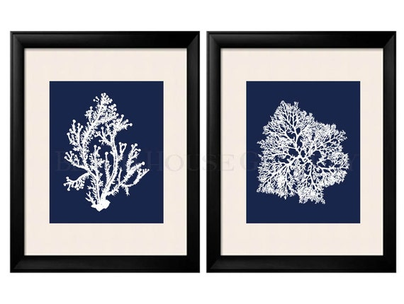 Blue Coral Wall Art Navy Blue Coral Print Navy White Wall Etsy