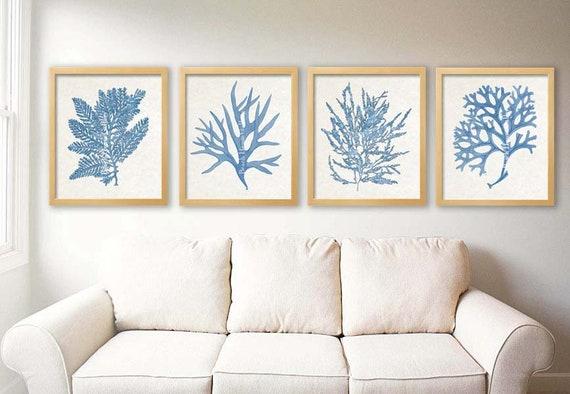 Blue and Cream Living Room Art, Blue Beige Wall Art, Denim Blue Art,
