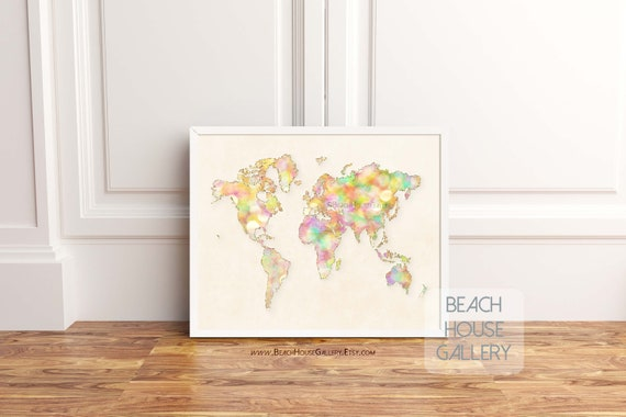 Affiche carte du monde carte art art mural maison bureau etsy