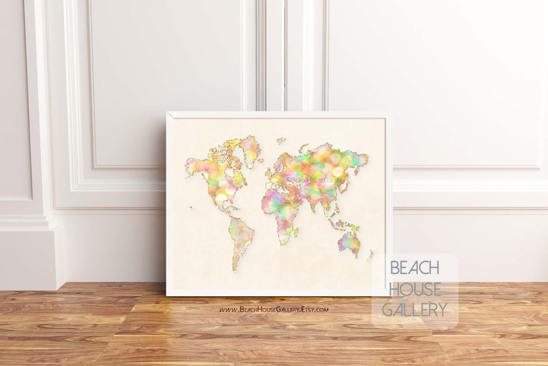 World Map Poster Map Art Home Office Wall Art Travel Etsy