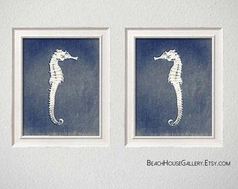 Seahorse Blue Print, Seahorse Wall Art, Seahorse Print Set, Seahorse Art, Beach House Art Print, Blue Print Art, Sepia Seahorse Prints