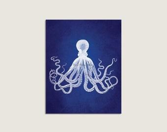 Octopus Art, Indigo Blue, Octopus Art Print, Vintage Octopus Wall Art, Octopus Print, Nautical Decor, Beach House Wall Art, Sealife Print