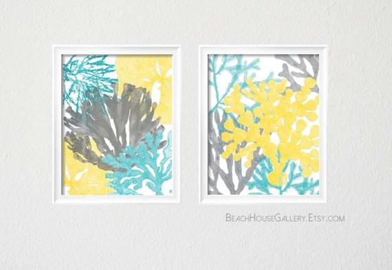 Yellow Gray Turquoise Home Decor Aqua Nursery Etsy