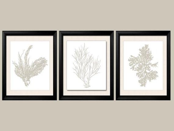 Revere Pewter Wall Art Gray Sea Coral Print Set of Three   Etsy