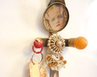 Kitchen Art, Kitchen Angel, New Kitchen Gift, KITCHEN WITCH, New Home Gift, Antique Hardware Art, Antique Silverware, Recycled Art Gift