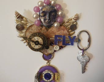 OOAK, Time Flies, Altered Art Artdoll, Art Doll, Metal Sculpture Wall Art, TIME FLYS, Time Flies, Guardian Angel Gift, Art