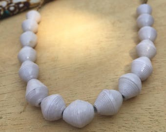 Simple White Paper Bead Necklace