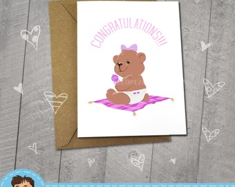 Congratulations New Baby Girl, Teddy Bear,  Approximately 5 x 7 Blank Card, Choose Your Color,  Newborn Announcement, Baby Shower, Cute
